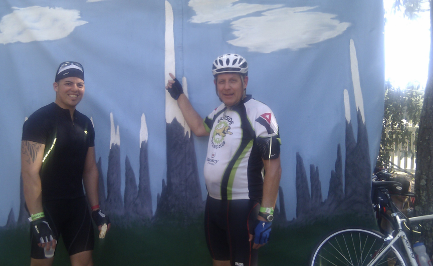 Yamil and I at the US 27 Tourist Welcome Center SAG. I am pointing to the Sugarloaf climb profile.