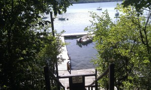 View from the stairway heading down to the dock.  The water is crystal clear