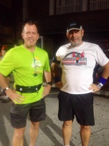 Dave Brillhart and I before the start of Space Coast Marathon 2013
