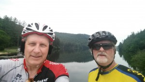Jonathan Howell and I stopping at the Lake before Pisgah National Forest